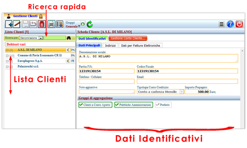 dati identificativi clienti
